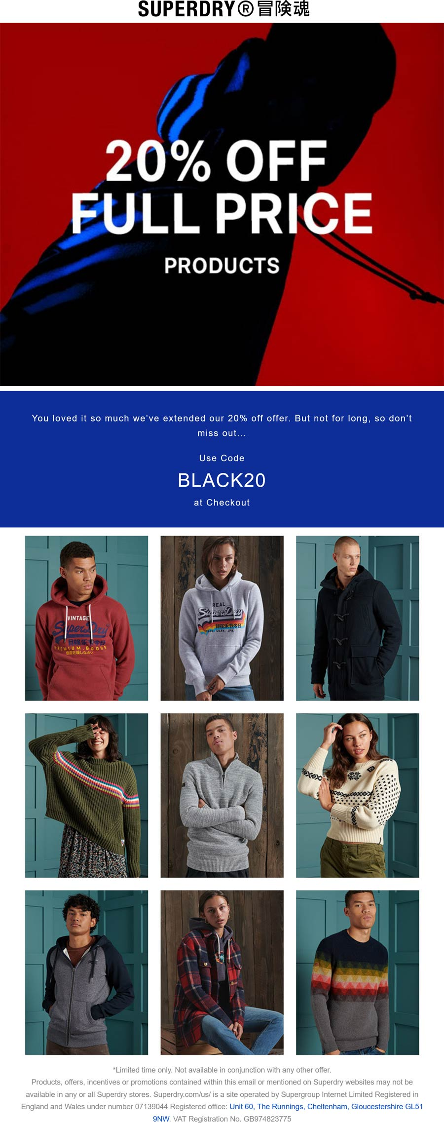 Superdry stores Coupon  20% off at Superdry via promo code BLACK20 #superdry