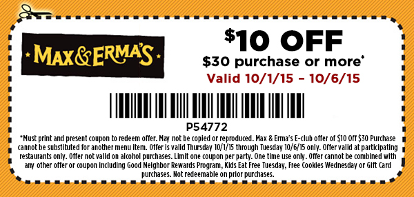 Max & Ermas Coupon August 2020 $10 off $30 at Max & Ermas restaurants