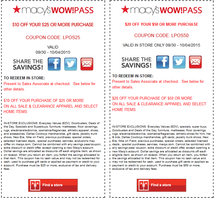 macys coupon october