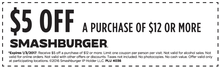 graphic regarding Smashburger Printable Coupon identify Sfdisplay Discount coupons 12 Coupon Codes For July 2019 - oc
