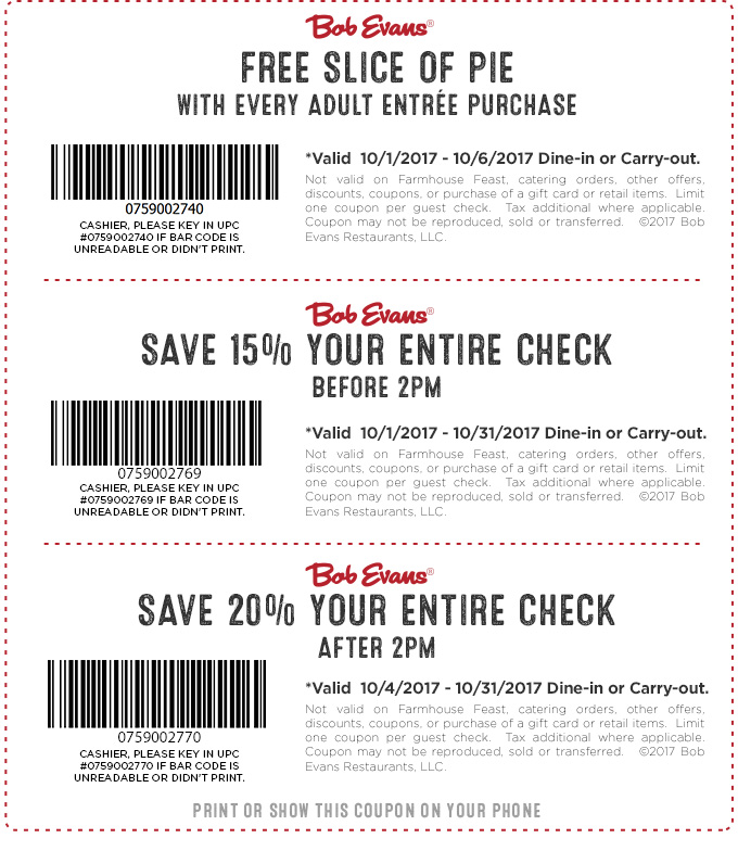 BOB EVANS COUPONS FOR OCTOBER 2019
