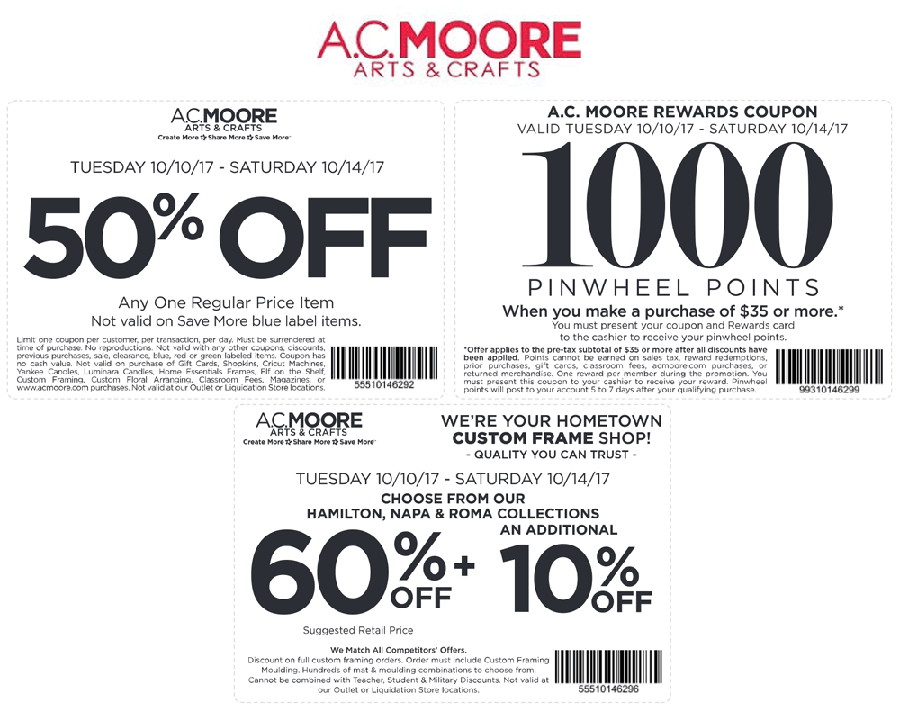 A C  Moore Coupons - 50% off a single item at A C  Moore