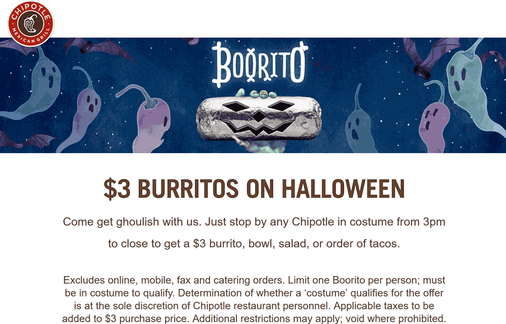 Chipotle Halloween 2020 Chipotle August 2020 Coupons and Promo Codes 🛒
