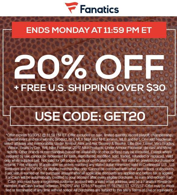 coupon and promo codes for fanatics