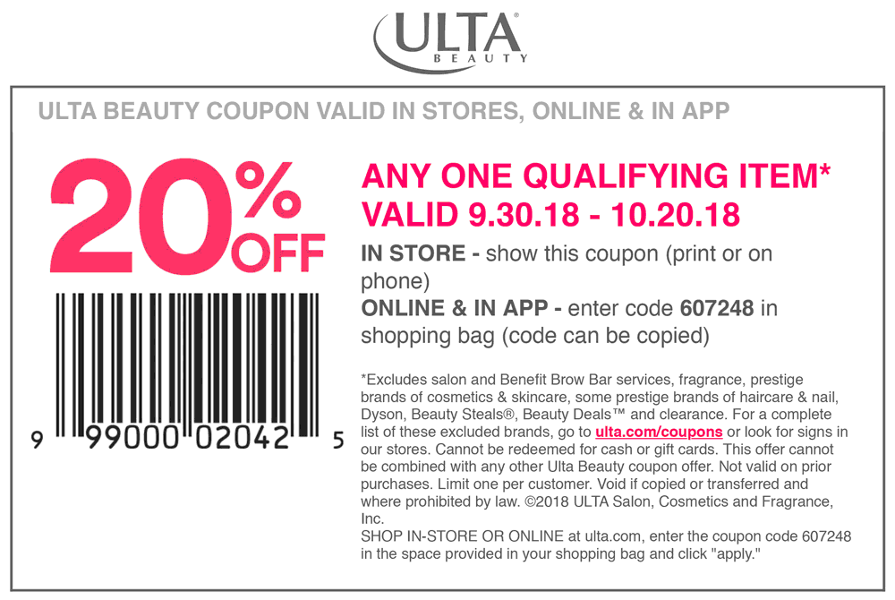 Ulta Coupon February 2020 20% off a single item at Ulta Beauty, or online via promo code 607248