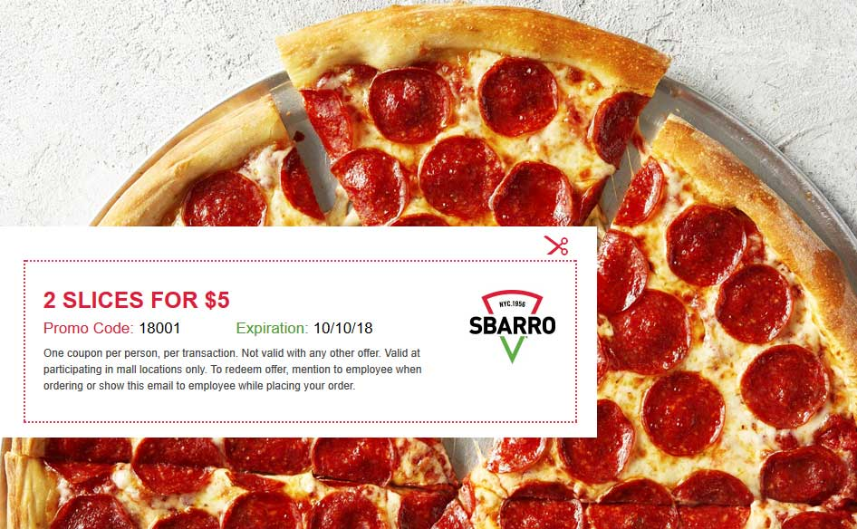 Sbarro coupons & promo code for [April 2020]