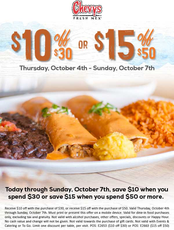 Chevys Coupon February 2020 $10 off $30 & more at Chevys Fresh Mex restaurants