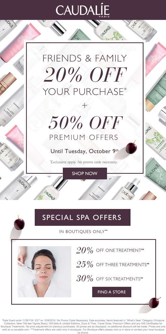 Caudalie Coupon February 2020 20-50% off at Caudalie, ditto online