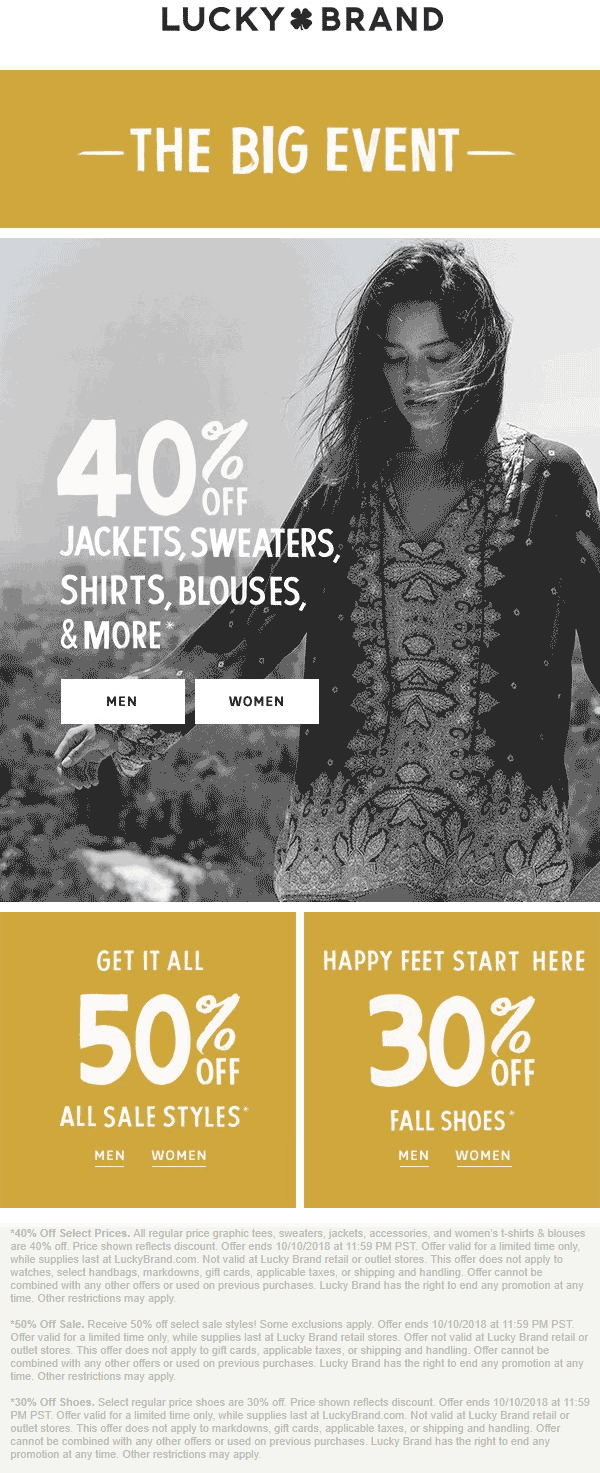 Lucky Brand Coupon February 2020 50% off sale items & more at Lucky Brand, ditto online