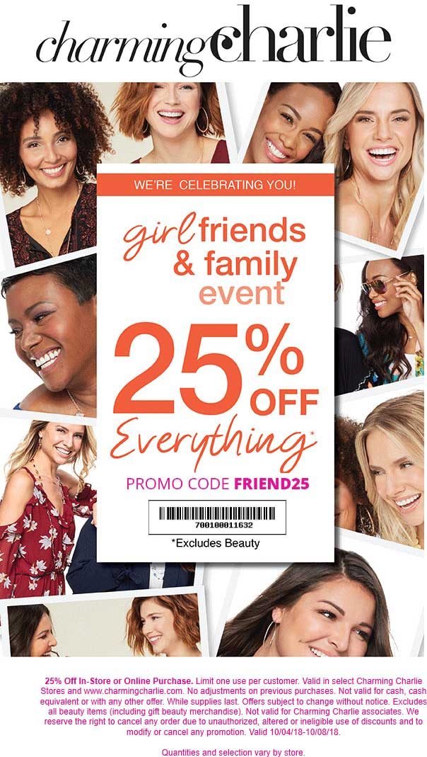 Charming Charlie Coupon February 2020 25% off everything at Charming Charlie, or online via promo code FRIEND25