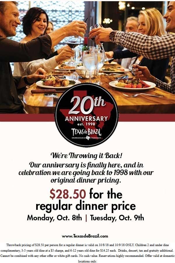 Texas de Brazil Coupon February 2020 $28.50 dinner tonight at Texas de Brazil restaurants