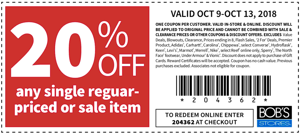 Bobs Stores Coupon February 2020 20% off a single item at Bobs Stores, or online via promo code 204362