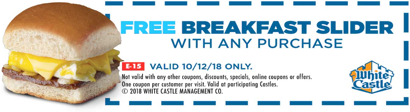 White Castle Coupon February 2020 Free breakfast slider with any order Friday at White Castle