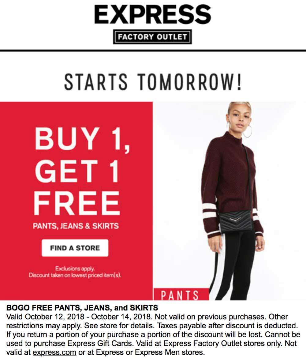 Express Factory Outlet Coupon February 2020 Second pants, jeans & skirts free at Express Factory Outlet
