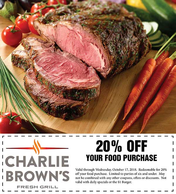 Charlie Browns coupons & promo code for [February 2020]