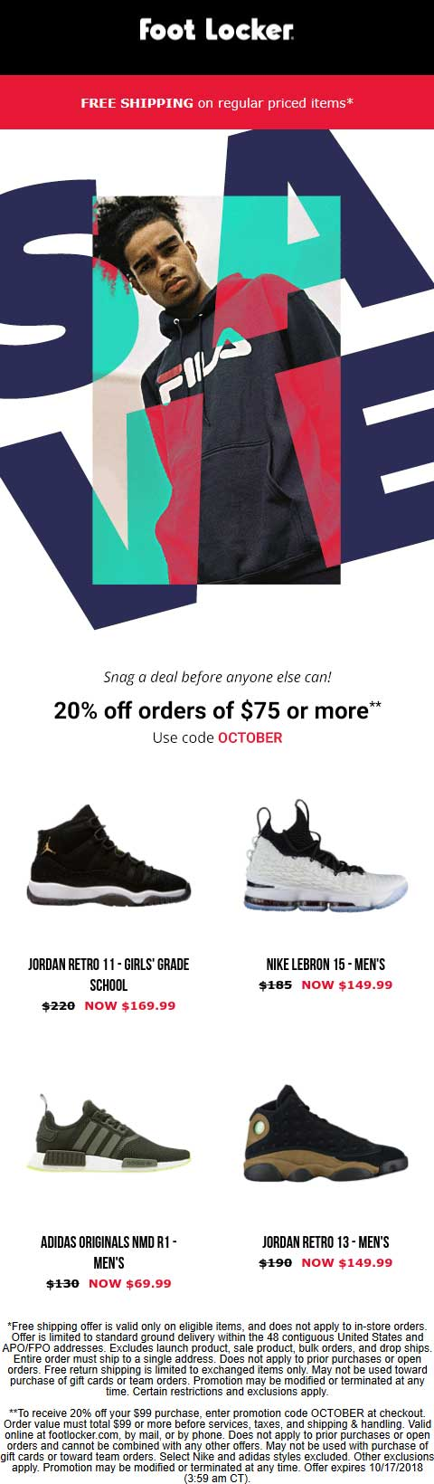 Foot Locker coupons & promo code for [February 2020]