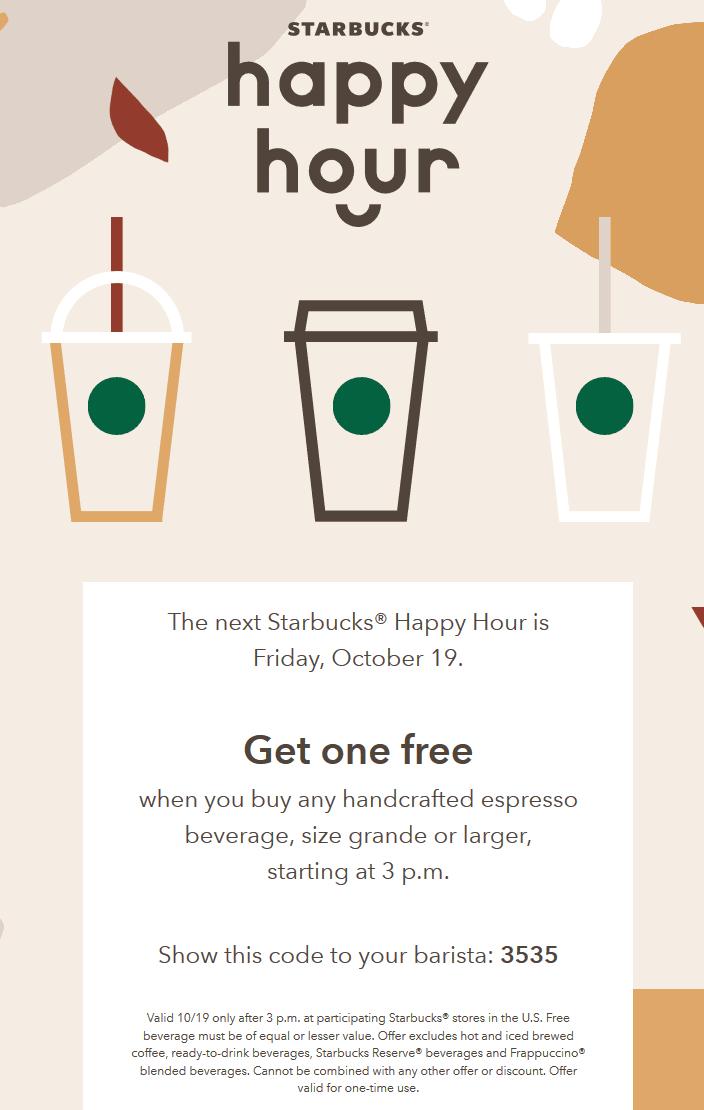 Starbucks Coupon February 2020 Second espresso free Friday at Starbucks