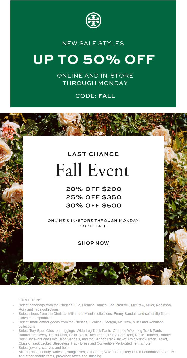 Tory Burch Coupon February 2020 20-30% off $200+ at Tory Burch, or online via promo code FALL