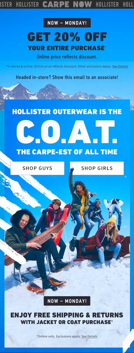 Hollister Coupon February 2020 20% off at Hollister, ditto online