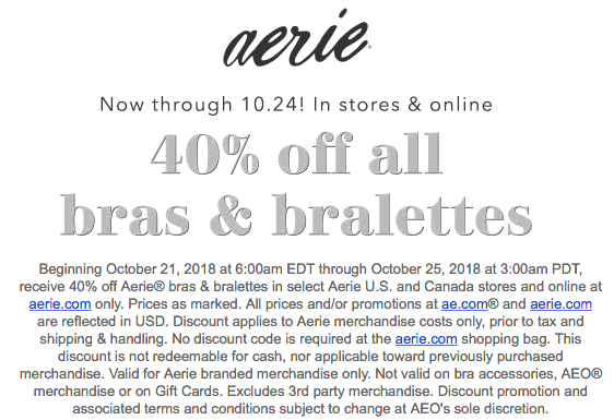 Aerie coupons & promo code for [September 2020]