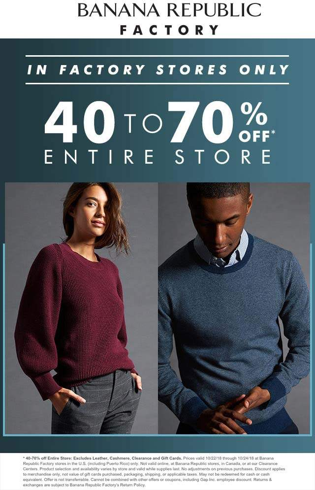 Banana Republic Factory coupons & promo code for [August 2020]