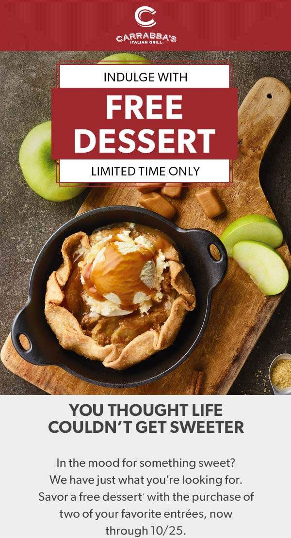 Carrabbas Coupon February 2020 Free dessert with your entrees at Carrabbas