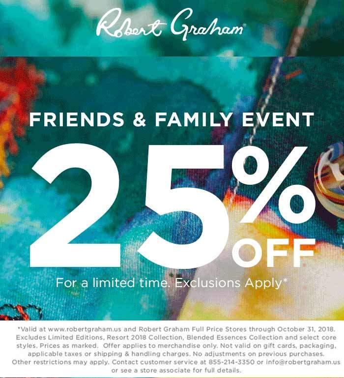 Robert Graham Coupon February 2020 25% off at Robert Graham, ditto online