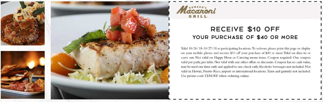 Macaroni Grill Coupon August 2020 $10 off $40 at Macaroni Grill restaurants