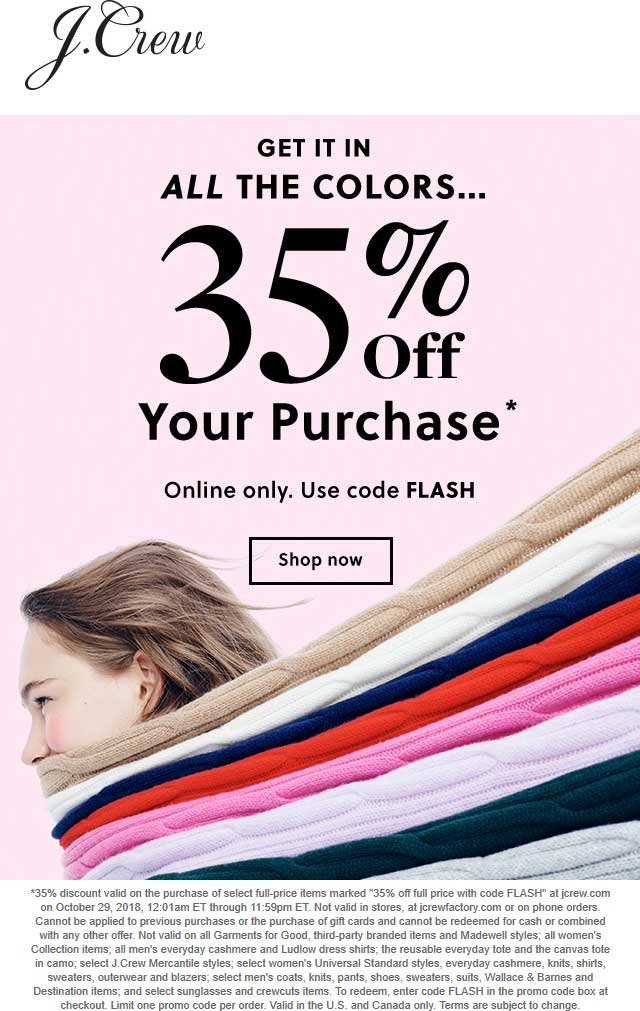 J.Crew Coupon August 2020 35% off online today at J.Crew via promo code FLASH