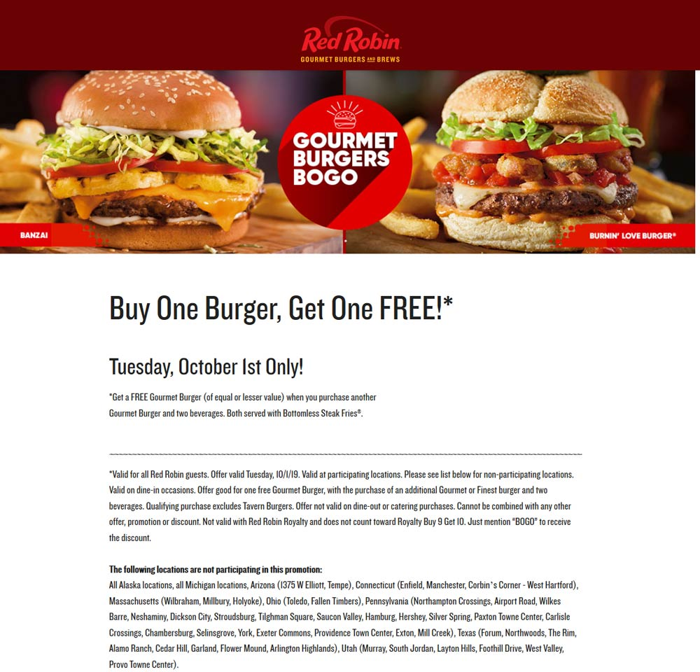 Red Robin coupons & promo code for [October 2020]