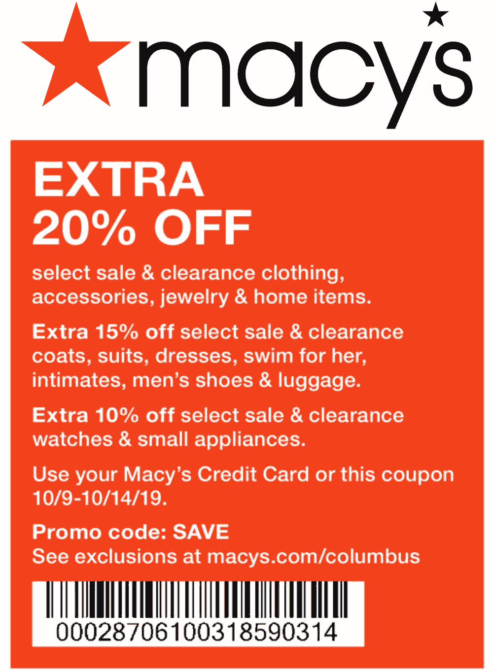 Macys Coupon February 2020 Extra 20% off at Macys, or online via promo code SAVE