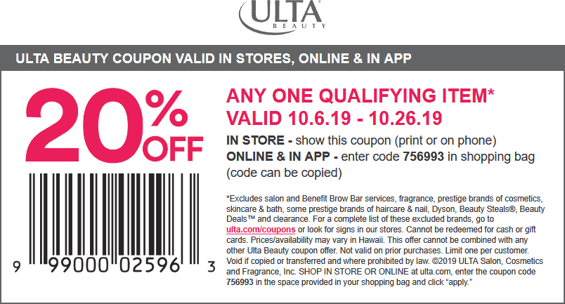 Ulta Beauty Coupon February 2020 20% off a single item at Ulta Beauty, or online via promo code 756993