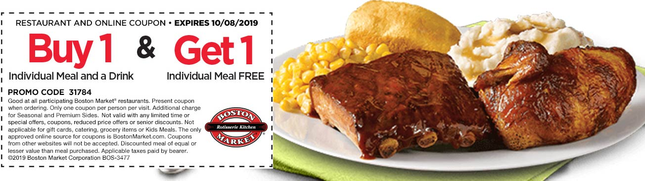 Boston Market coupons & promo code for [July 2020]