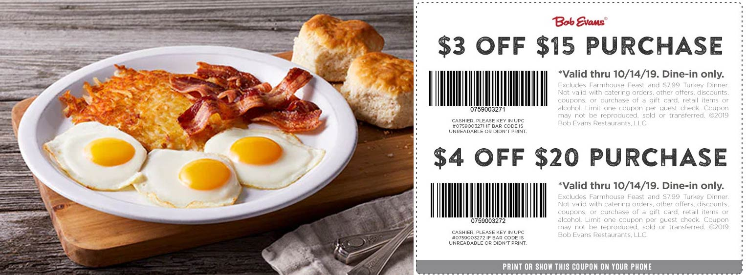 Bob Evans coupons & promo code for [July 2020]