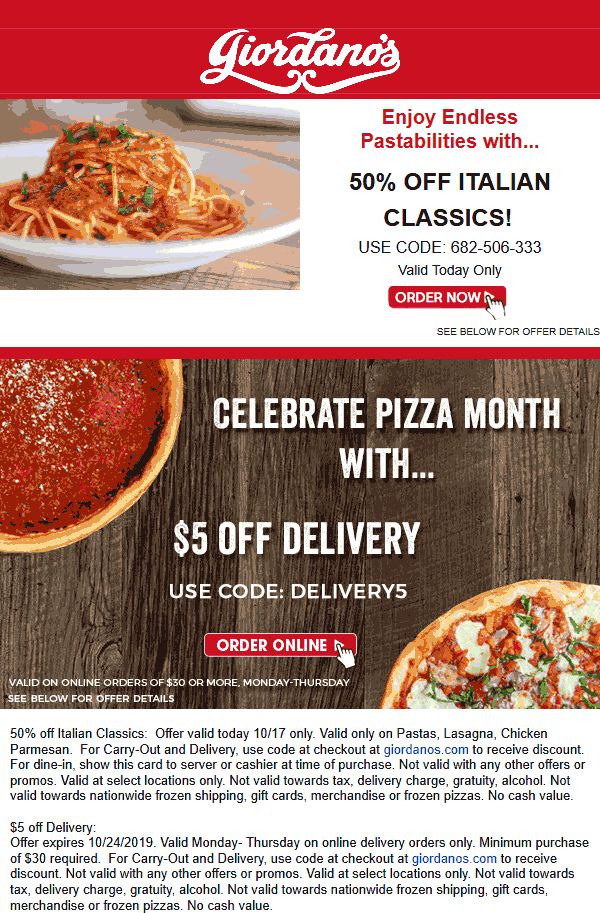 Giordanos coupons & promo code for [May 2021]