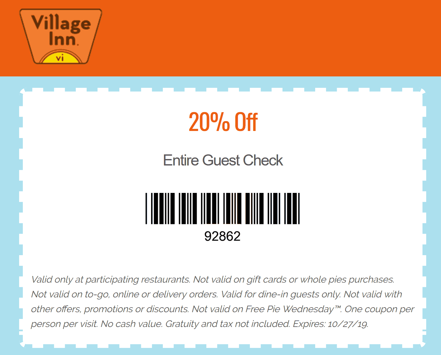Village Inn coupons & promo code for [April 2021]