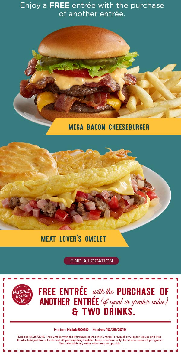 Huddle House coupons & promo code for [January 2021]