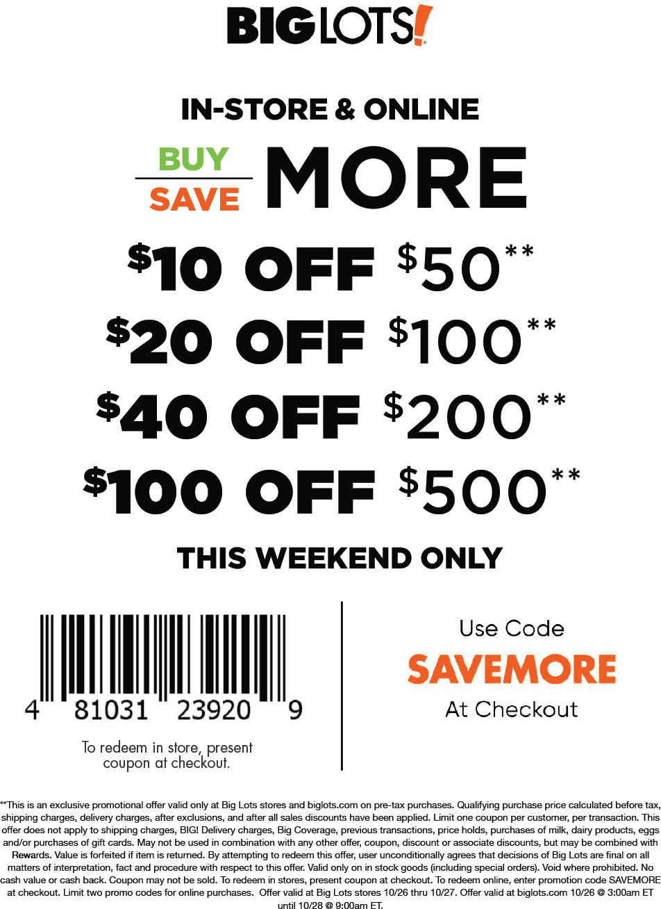 Big Lots coupons & promo code for [August 2020]