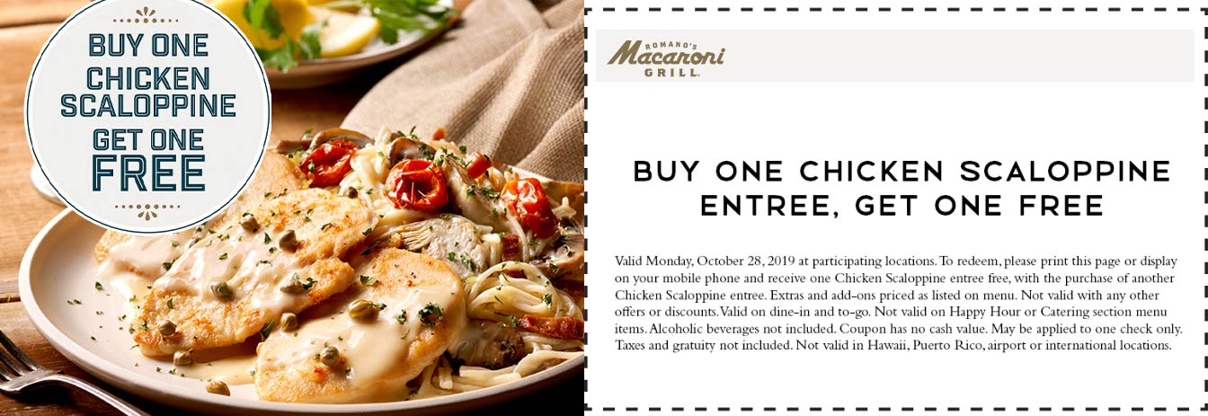 Macaroni Grill coupons & promo code for [August 2021]