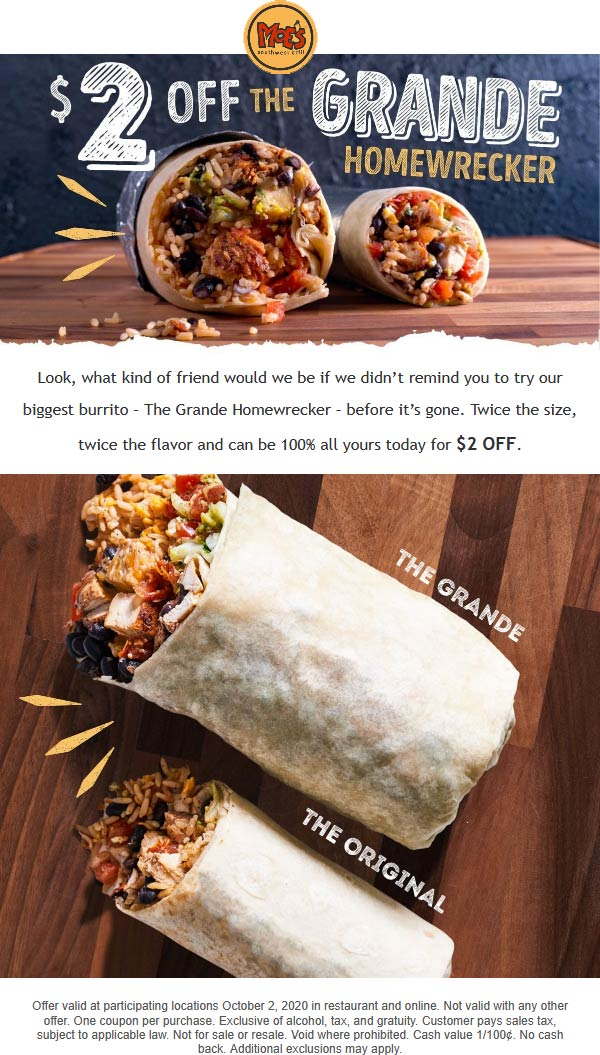 Moes Southwest Grill restaurants Coupon  $2 off grande homewrecker burrito today at Moes Southwest Grill #moessouthwestgrill