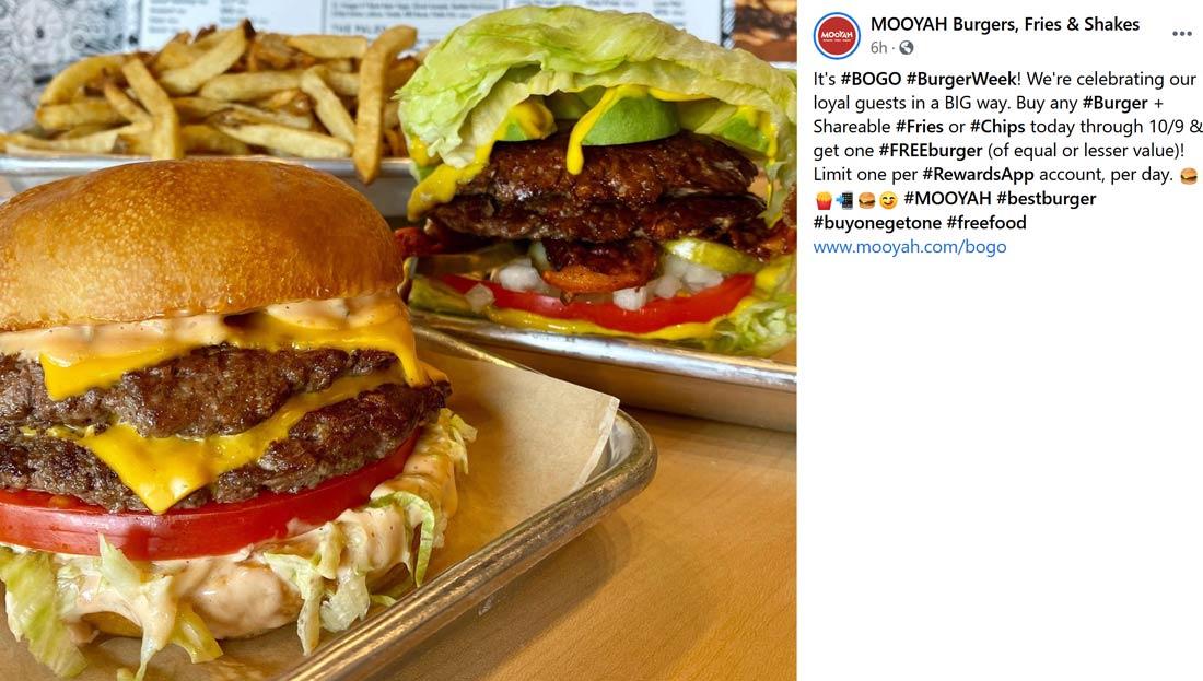 MOOYAH restaurants Coupon  Second cheeseburger free for rewards members at MOOYAH burgers fries & shakes #mooyah
