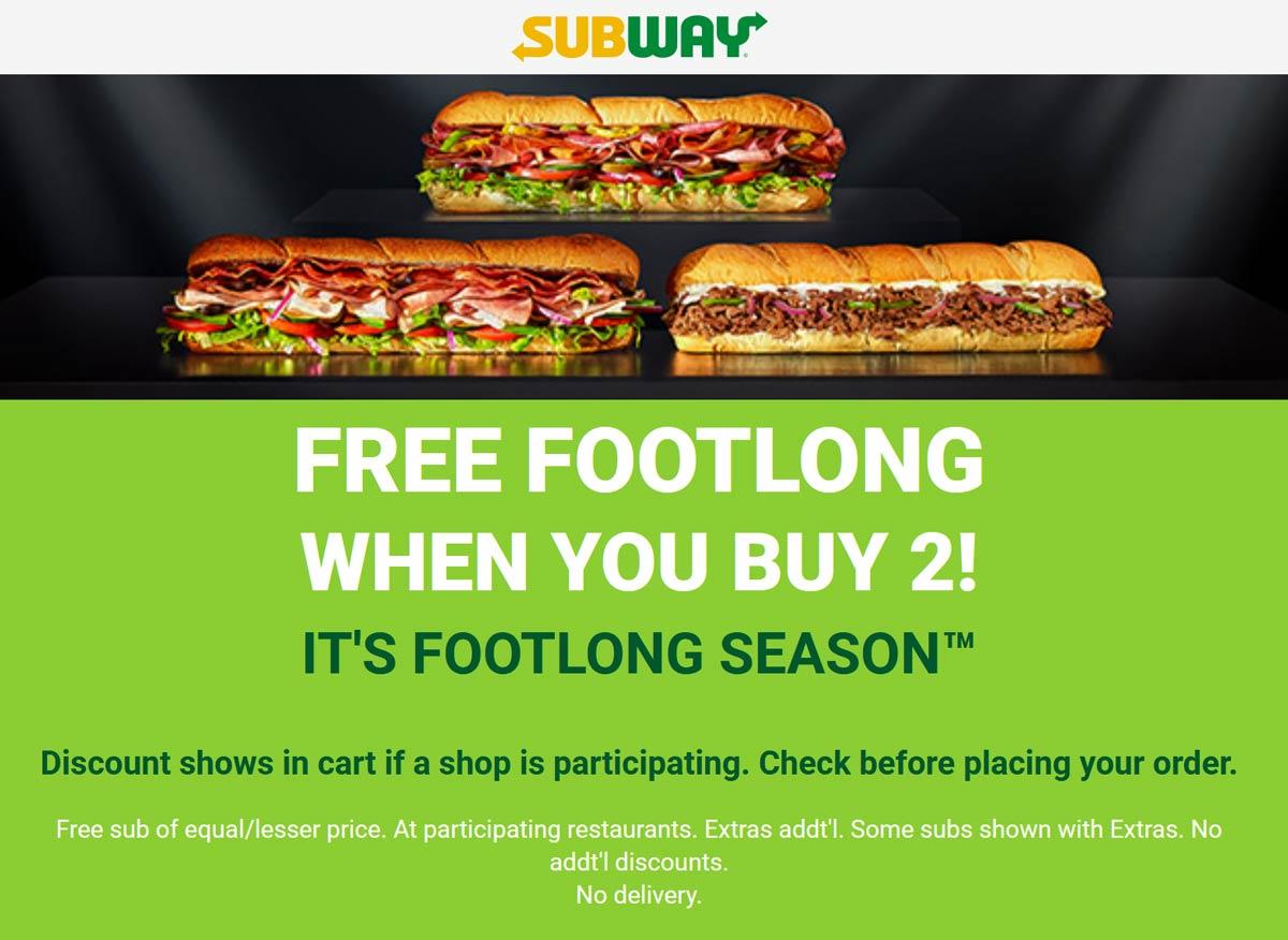 November 2020 3rd Footlong Sub Sandwich Free At Subway Subway Coupon Promo Code The Coupons App