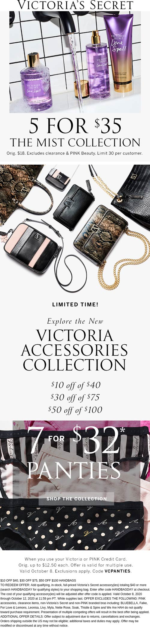 Victorias Secret stores Coupon  5 for $35 on mists & $10-$50 off $40+ on handbags and accessories at Victorias Secret via promo code HANDBAGDAY #victoriassecret