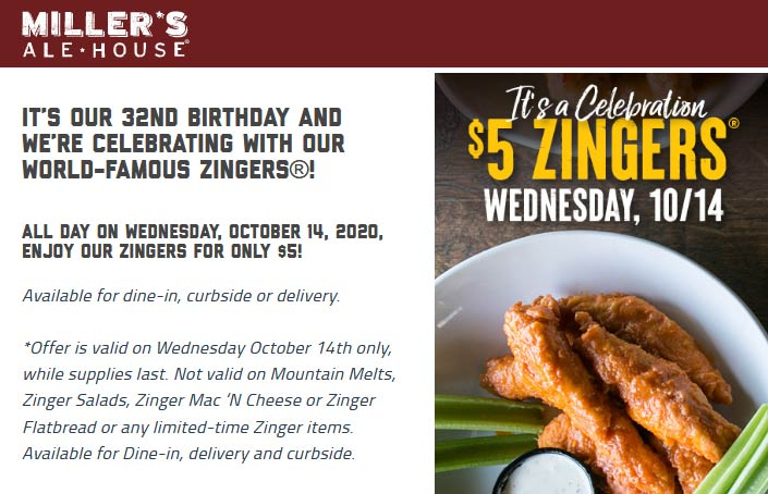 Millers Ale House restaurants Coupon  $5 chicken zingers the 14th at Millers Ale House restaurants #millersalehouse