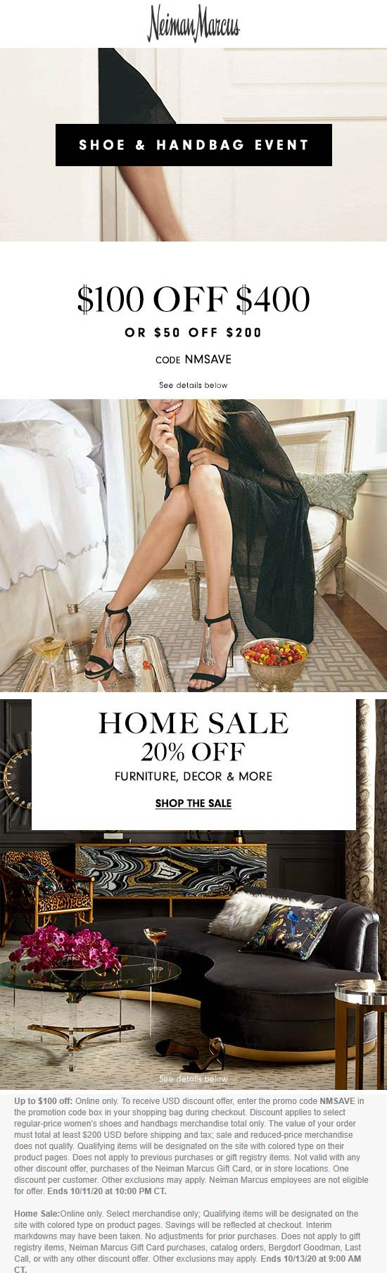 $50 off $200, 20% off home & more today at Neiman Marcus via promo code NMSAVE #neimanmarcus