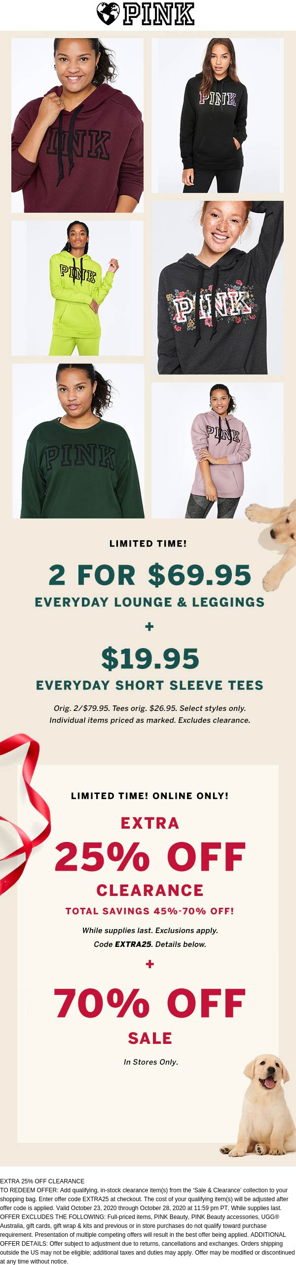 PINK stores Coupon  $20 short sleeve logo shirts + extra 25% off clearance at Victorias Secret PINK via promo code EXTRA25 #pink
