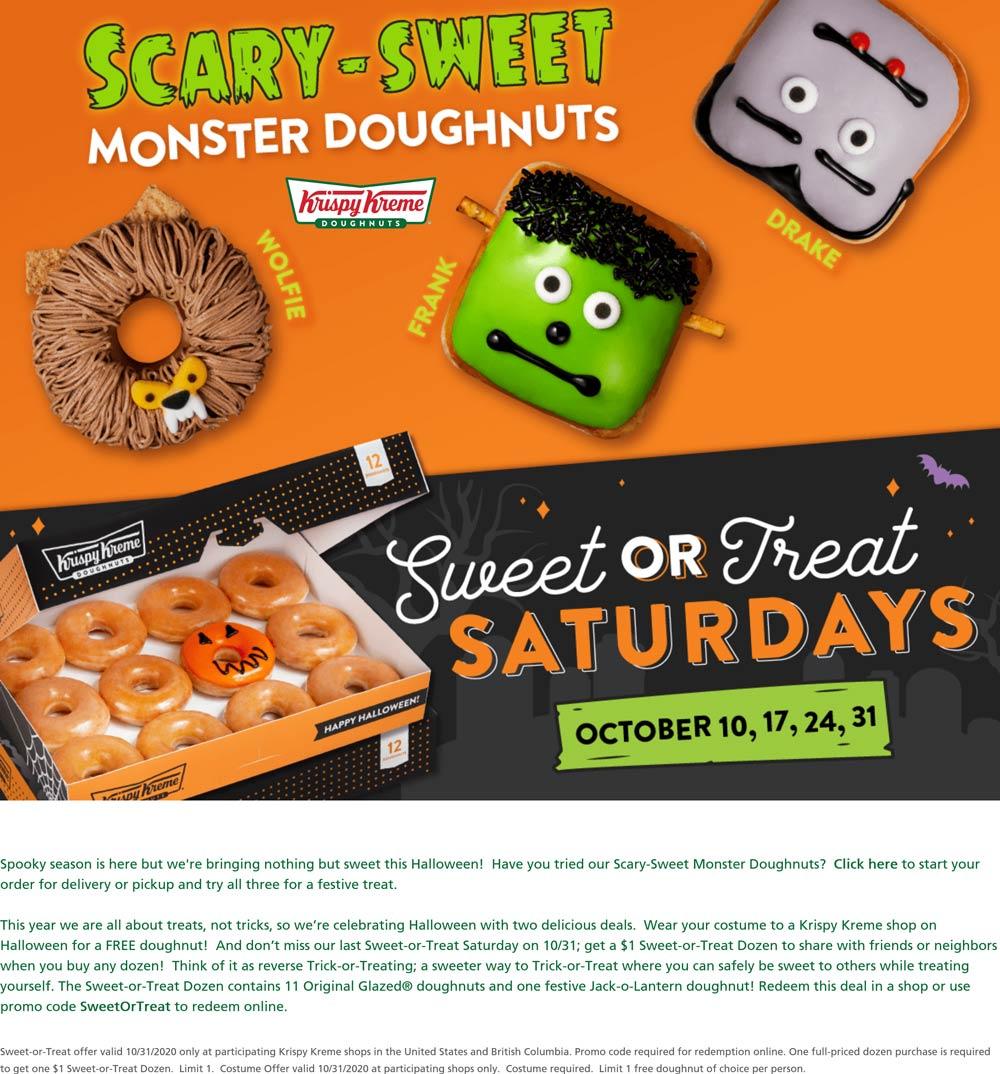 Krispy Kreme restaurants Coupon  Free doughnut in costume Saturday at Krispy Kreme #krispykreme