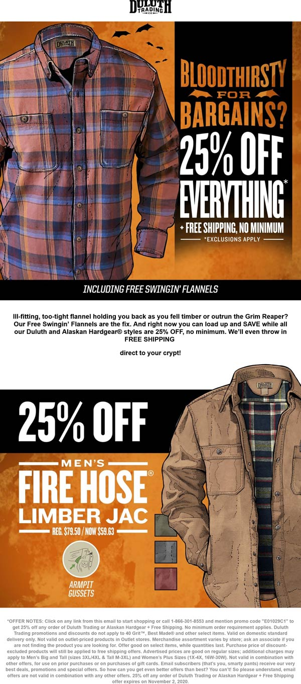 Duluth Trading Co stores Coupon  25% off everything at Duluth Trading Co, or online + free shipping via promo code E01029C1 #duluthtradingco