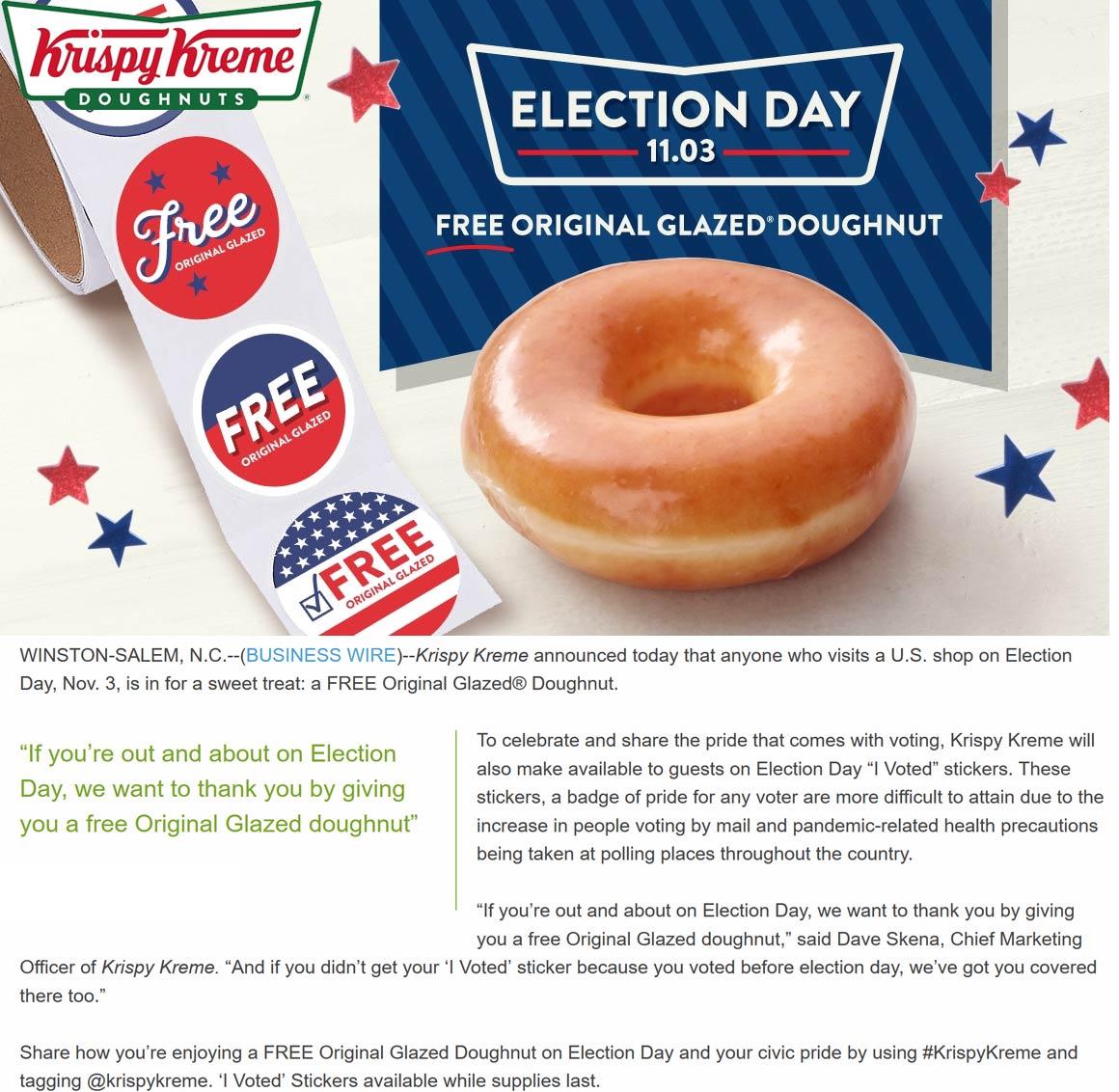 Krispy Kreme restaurants Coupon  Free glazed doughnut Tuesday with your I Voted sticker at Krispy Kreme #krispykreme