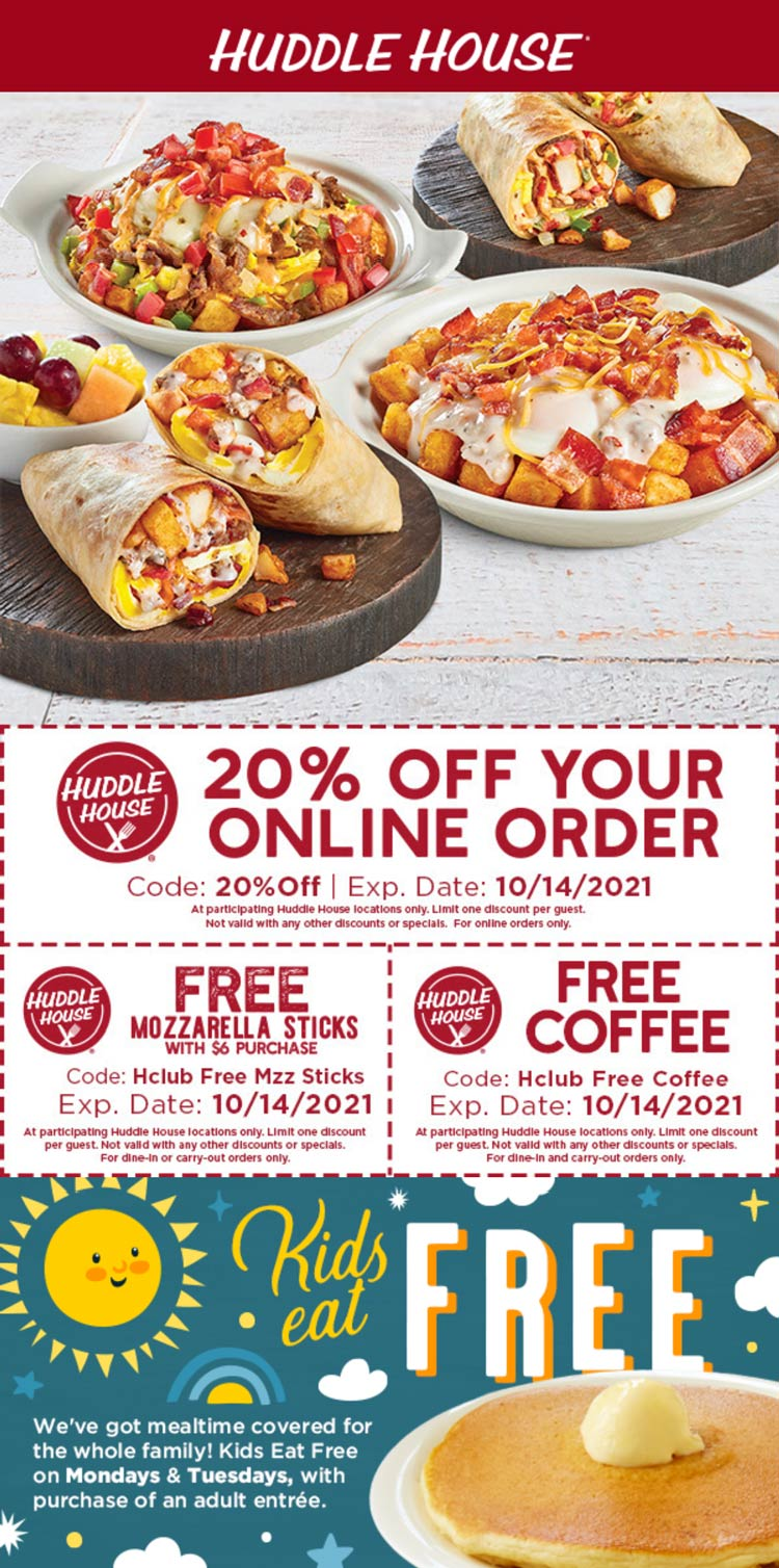 Huddle House coupons & promo code for [October 2021]